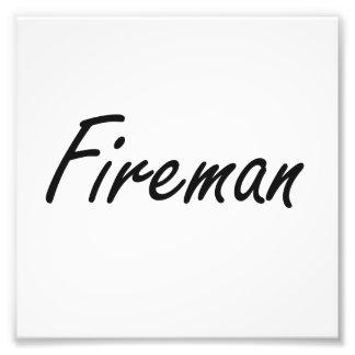 Fireman Artistic Job Design Photo Print