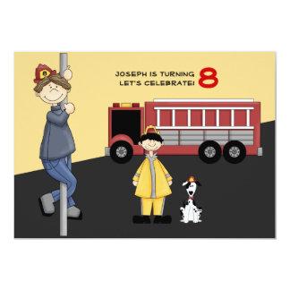 "Fireman Birthday Party Invitation 5"" X 7"" Invitation Card"