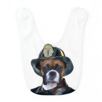 Fireman boxer dog bib