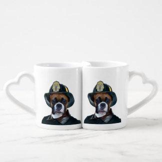 Fireman boxer dog coffee mug set