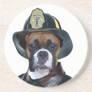 Fireman Boxer Dog Drink Coaster