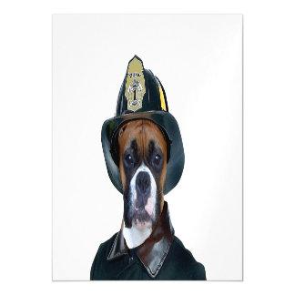 Fireman Boxer Dog Magnetic Card
