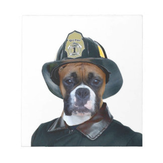 Fireman boxer dog notepad