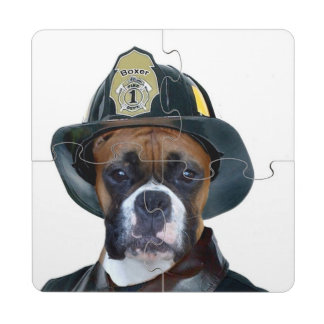 Fireman boxer dog puzzle coaster