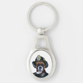 Fireman boxer dog Silver-Colored oval metal keychain