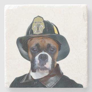 Fireman boxer dog stone coaster
