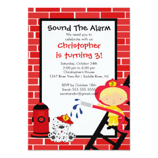 Fireman Boy Firetruck Birthday Party Card