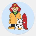 Fireman (Boy) Round Stickers