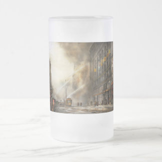 Fireman - Brooklyn NY - Surprise 1909 Frosted Glass Beer Mug