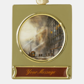 Fireman - Brooklyn NY - Surprise 1909 Gold Plated Banner Ornament
