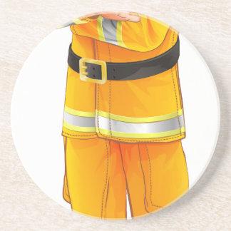 Fireman character drink coaster