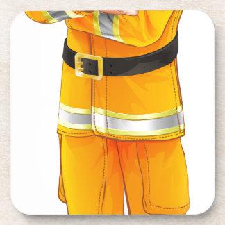 Fireman character beverage coasters