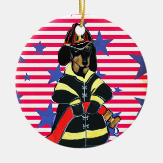 FIREMAN DACHSHUND CERAMIC ORNAMENT