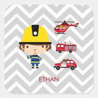 Fireman Emergency Vehicles on Chevron Square Sticker