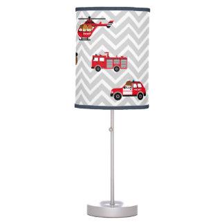 Fireman Emergency Vehicles on Chevron Table Lamp
