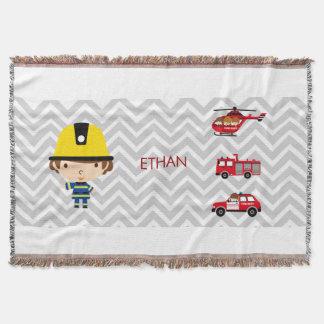 Fireman Emergency Vehicles on Chevron Throw Blanket