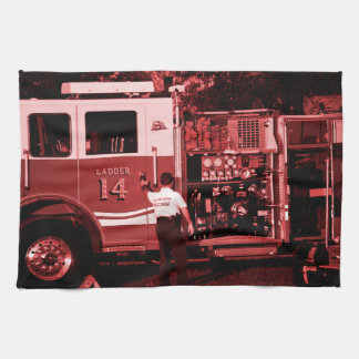fireman entering truck burgundy colored towel