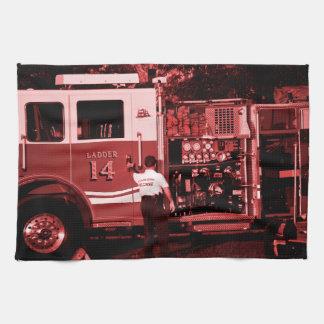 fireman entering truck burgundy colored towel