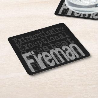 Fireman Extraordinaire Square Paper Coaster