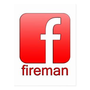 Facebook logo cards greeting photo cards zazzle fireman facebook logo template postcard maxwellsz