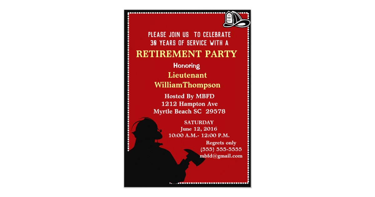 Fireman Fire Chief Retirement Party Invitation Zazzle Com