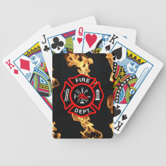 Fireman Fire Dept   Maltese Cross Logo Flames Bicycle Playing Cards