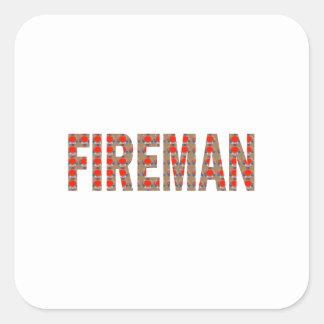 FIREMAN Fire Service : Risk Responsibility Danger Square Stickers