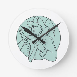 Fireman Firefighter Axe Hose Circle Mono Line Round Clock