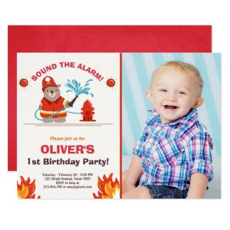Fireman Firefighter Birthday Invitation Boy