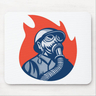 fireman firefighter fighting fire retro mousepad