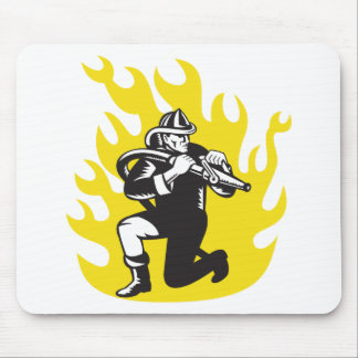 fireman firefighter fighting fire retro mouse pad
