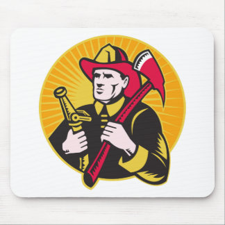 fireman firefighter fighting fire retro mouse pads