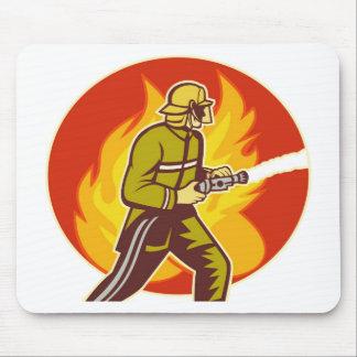 fireman firefighter fighting fire retro mousepads