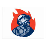 fireman firefighter fighting fire retro post card