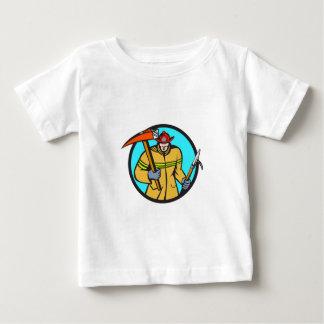 Fireman Firefighter Fire Axe Hook Circle Retro Baby T-Shirt