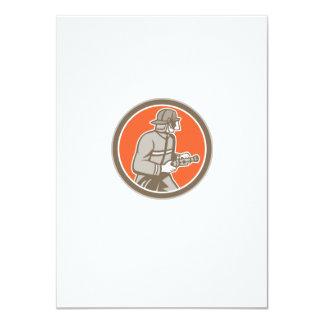 Fireman Firefighter Fire Hose Circle Retro 11 Cm X 16 Cm Invitation Card