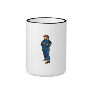 Fireman Firefighter Folding Arms Retro Coffee Mug