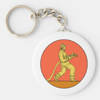Fireman Firefighter Holding Fire Hose Circle Drawi Keychain