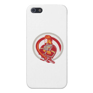 Fireman Firefighter Standing Folding Arms Circle iPhone 5 Cases