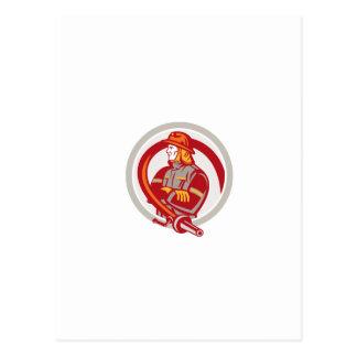 Fireman Firefighter Standing Folding Arms Circle Postcard