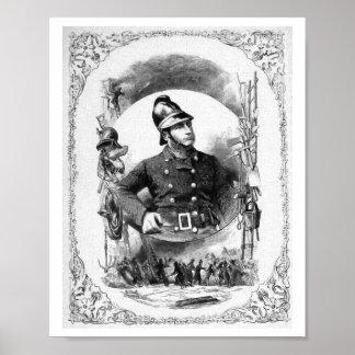 """""""Fireman/Firefighter"""" Vintage Illustration. Print"""