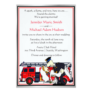 Fireman Firefighter Wedding Invitation