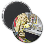 Fireman Firefighting Suit and Truck 2 Inch Round Magnet