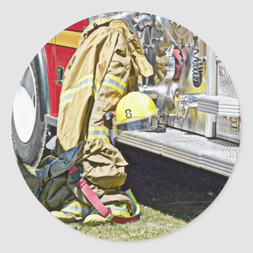 Fireman Firefighting Suit and Truck Classic Round Sticker
