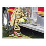 Fireman Firefighting Suit and Truck Post Card