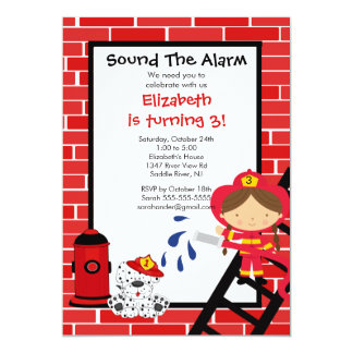 Fireman girl Firetruck Birthday Party 5x7 Paper Invitation Card