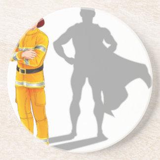 Fireman Hero Beverage Coaster