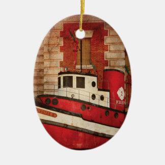 Fireman - NY - The fire boat Ceramic Ornament