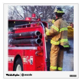 Fireman On Back Of Fire Truck Wall Sticker