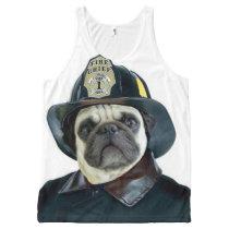 Fireman Pug all over print tank top